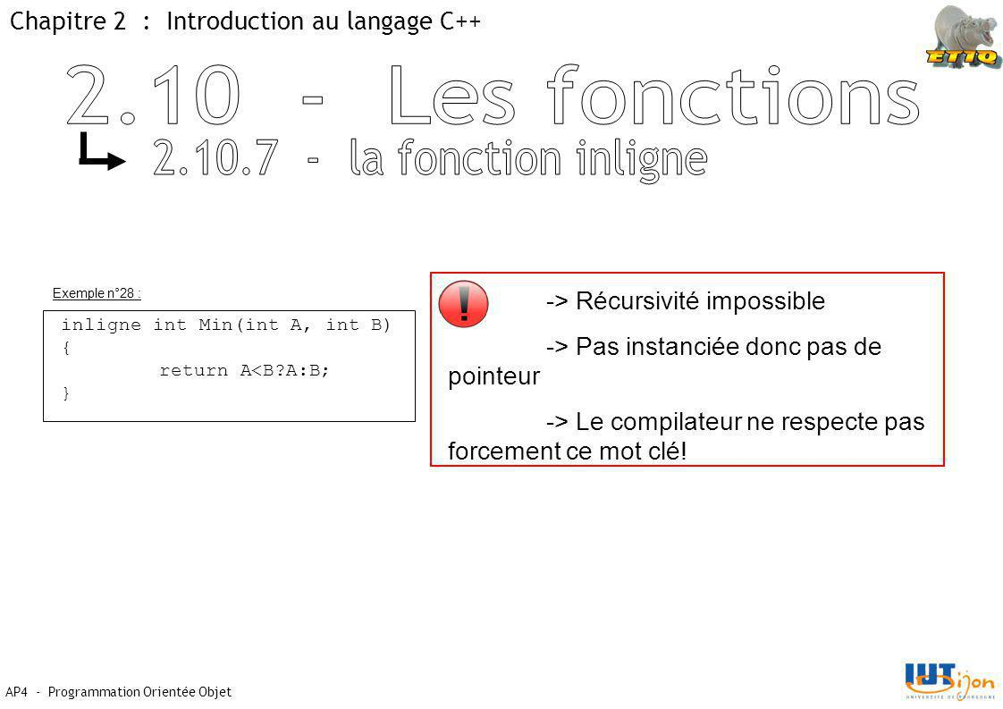Chapitre 2 : Introduction au langage C++ AP4 - Programmation Orientée Objet Exemple n°28 : inligne int Min(int A, int B) { return A<B?A:B; } -> Récursivité impossible -> Pas instanciée donc pas de pointeur -> Le compilateur ne respecte pas forcement ce mot clé!