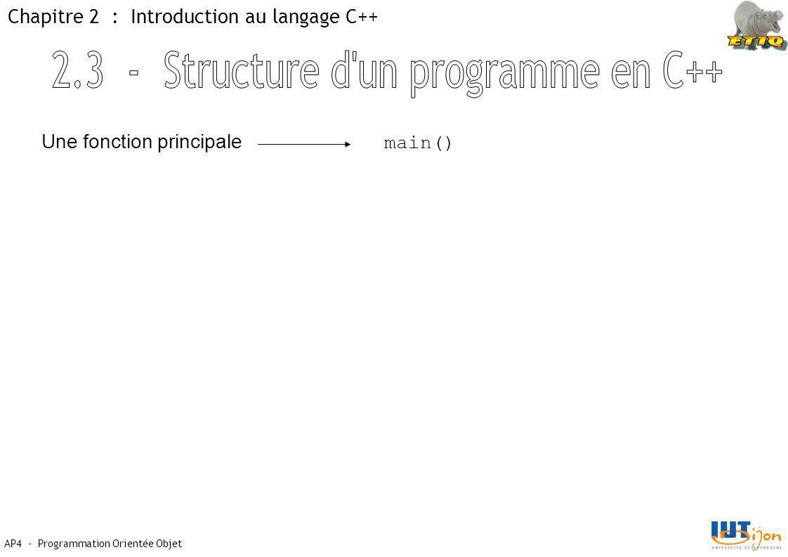AP4 - Programmation Orientée Objet Chapitre 2 : Introduction au langage C++ Une fonction principale main()