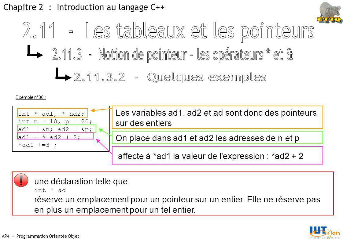 Chapitre 2 : Introduction au langage C++ AP4 - Programmation Orientée Objet int * ad1, * ad2; int n = 10, p = 20; ad1 = &n; ad2 = &p; ad1 = * ad2 + 2; *ad1 +=3 ; Exemple n°36 : Les variables ad1, ad2 et ad sont donc des pointeurs sur des entiers On place dans ad1 et ad2 les adresses de n et p affecte à *ad1 la valeur de l expression : *ad2 + 2 une déclaration telle que: int * ad réserve un emplacement pour un pointeur sur un entier.