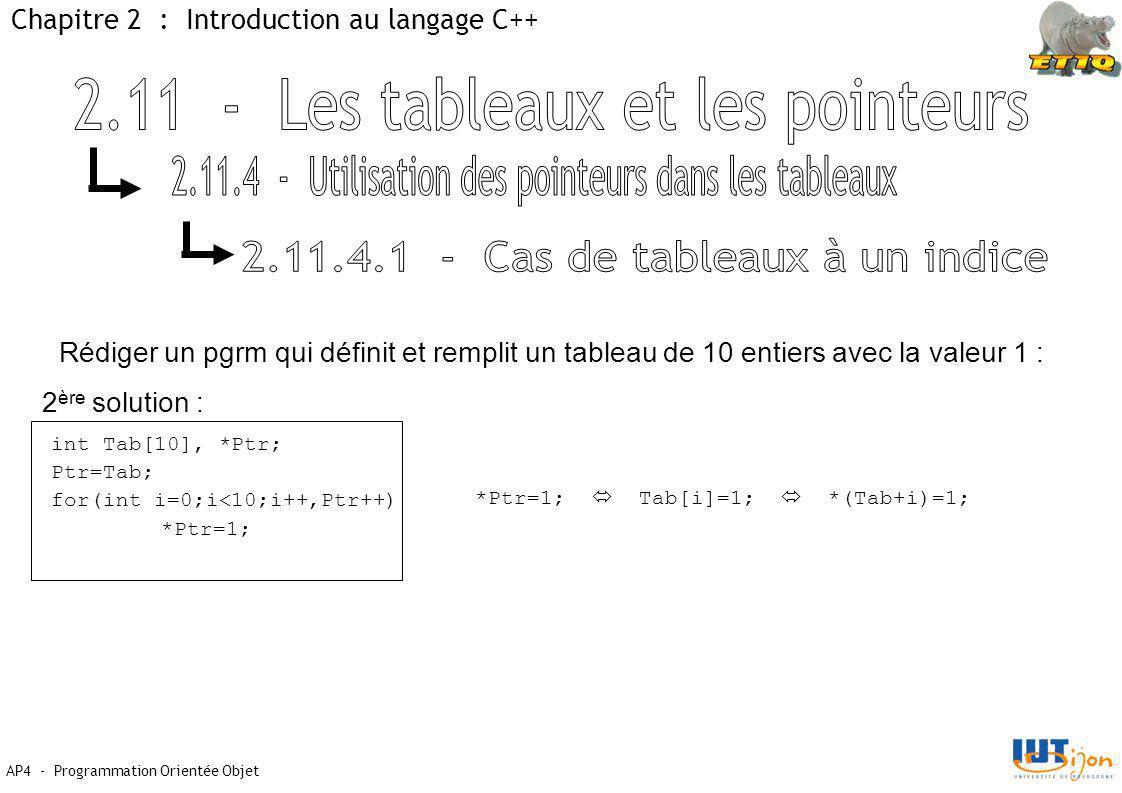 AP4 - Programmation Orientée Objet Chapitre 2 : Introduction au langage C++ int Tab[10], *Ptr; Ptr=Tab; for(int i=0;i<10;i++,Ptr++) *Ptr=1; Rédiger un pgrm qui définit et remplit un tableau de 10 entiers avec la valeur 1 : 2 ère solution : *Ptr=1;  Tab[i]=1;  *(Tab+i)=1;