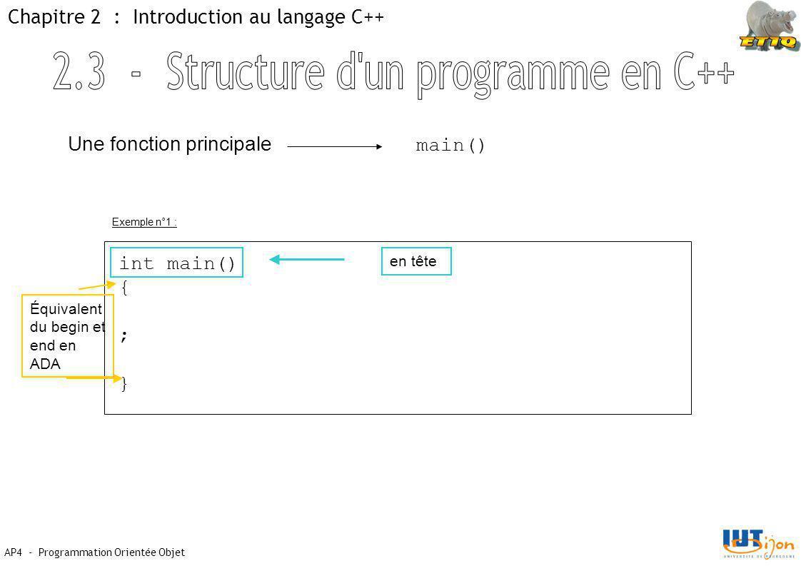 AP4 - Programmation Orientée Objet Chapitre 2 : Introduction au langage C++ Une fonction principale main() int main() { ; } en tête Équivalent du begin et end en ADA Exemple n°1 :