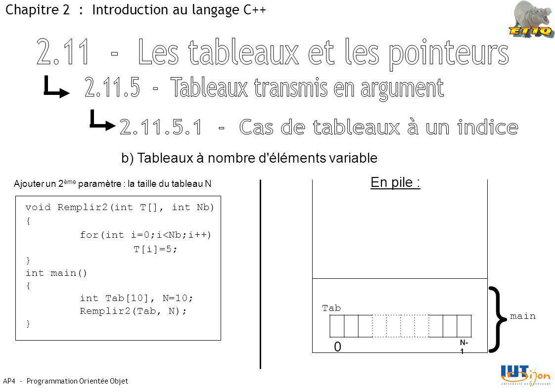 AP4 - Programmation Orientée Objet Chapitre 2 : Introduction au langage C++ void Remplir2(int T[], int Nb) { for(int i=0;i<Nb;i++) T[i]=5; } int main() { int Tab[10], N=10; Remplir2(Tab, N); } b) Tableaux à nombre d éléments variable En pile : } main Tab 0 N- 1 Ajouter un 2 ème paramètre : la taille du tableau N