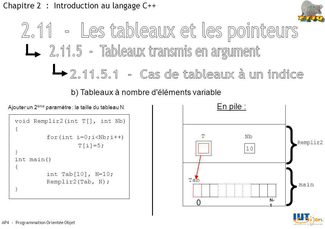 AP4 - Programmation Orientée Objet Chapitre 2 : Introduction au langage C++ b) Tableaux à nombre d éléments variable En pile : } } main Remplir2 Tab 0 N- 1 Nb T 10 Ajouter un 2 ème paramètre : la taille du tableau N void Remplir2(int T[], int Nb) { for(int i=0;i<Nb;i++) T[i]=5; } int main() { int Tab[10], N=10; Remplir2(Tab, N); }