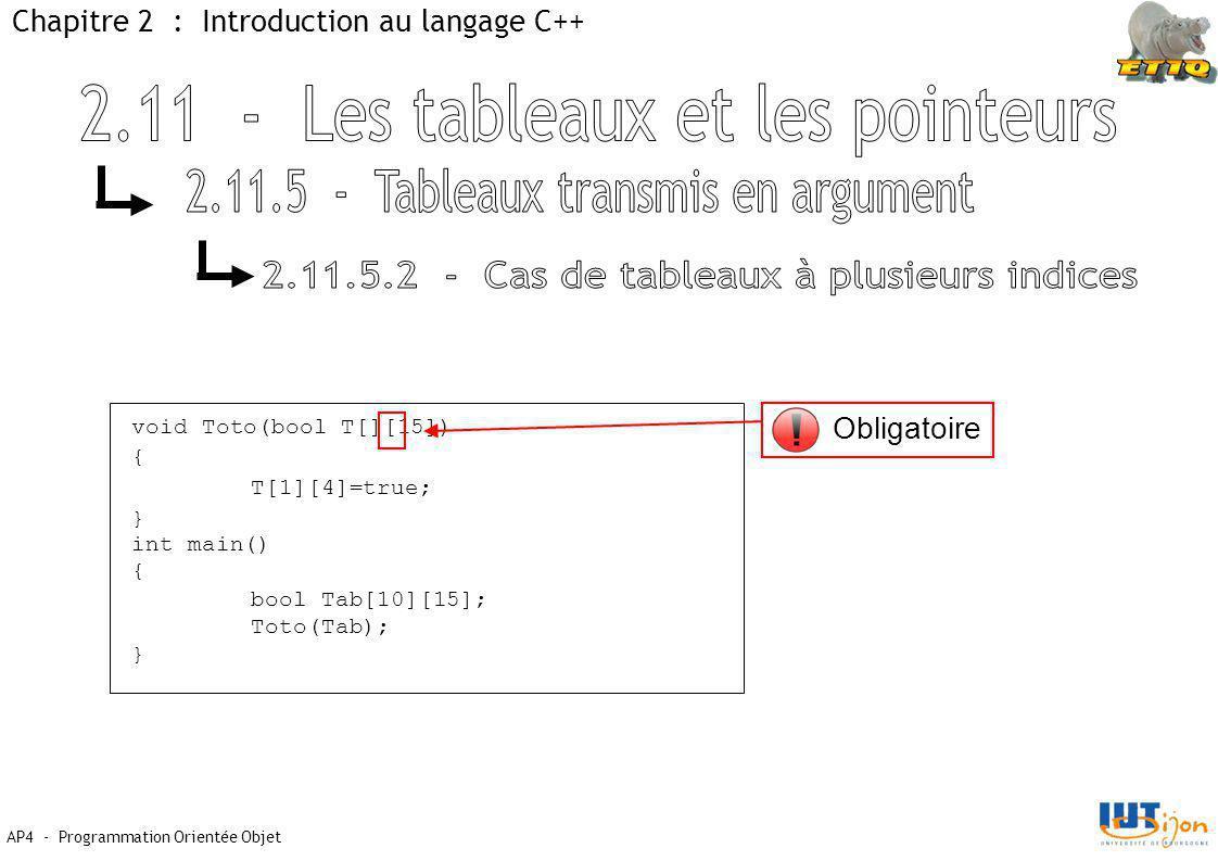 AP4 - Programmation Orientée Objet Chapitre 2 : Introduction au langage C++ void Toto(bool T[][15]) { T[1][4]=true; } int main() { bool Tab[10][15]; Toto(Tab); } Obligatoire