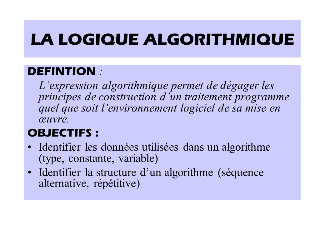 LA LOGIQUE ALGORITHMIQUE DEFINTION : L'expression algorithmique permet de dégager les principes de construction d'un traitement programme quel que soi