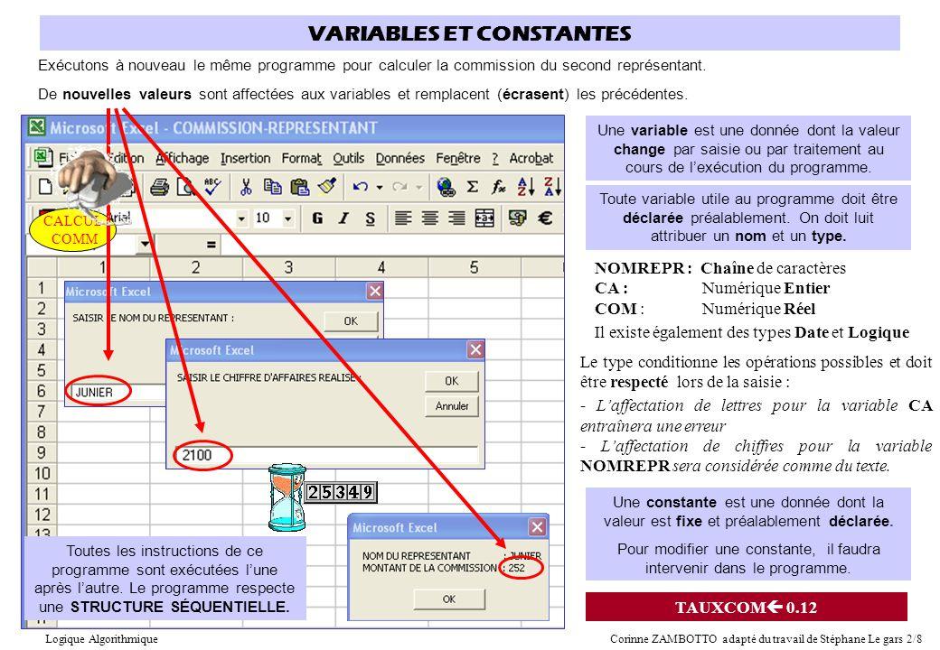 CALCUL COMM VARIABLES ET CONSTANTES Exécutons à nouveau le même programme pour calculer la commission du second représentant. Une variable est une don