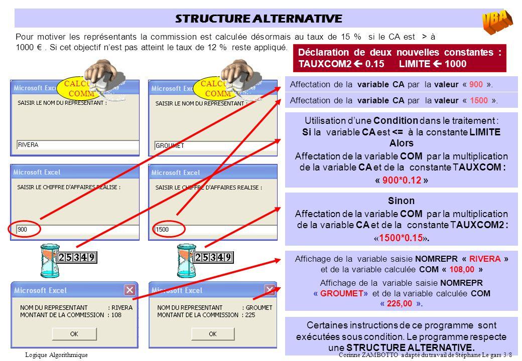 Déclaration de deux nouvelles constantes : TAUXCOM2  0.15 LIMITE  1000 STRUCTURE ALTERNATIVE Pour motiver les représentants la commission est calcul