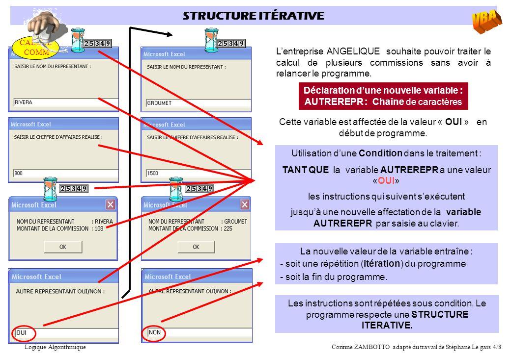 STRUCTURE ITÉRATIVE L'entreprise ANGELIQUE souhaite pouvoir traiter le calcul de plusieurs commissions sans avoir à relancer le programme. Déclaration