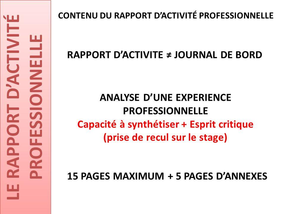 LE RAPPORT D'ACTIVITÉ PROFESSIONNELLE RAPPORT D'ACTIVITE ≠ JOURNAL DE BORD CONTENU DU RAPPORT D'ACTIVITÉ PROFESSIONNELLE ANALYSE D'UNE EXPERIENCE PROF