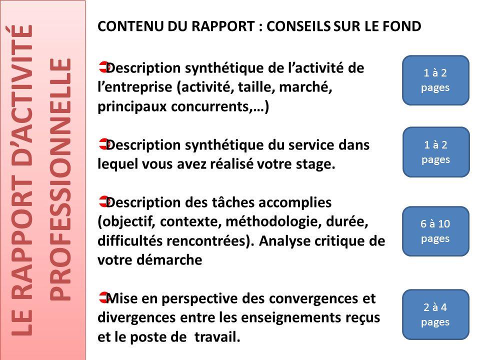 LE RAPPORT D'ACTIVITÉ PROFESSIONNELLE CONTENU DU RAPPORT : CONSEILS SUR LE FOND  Description synthétique de l'activité de l'entreprise (activité, tai