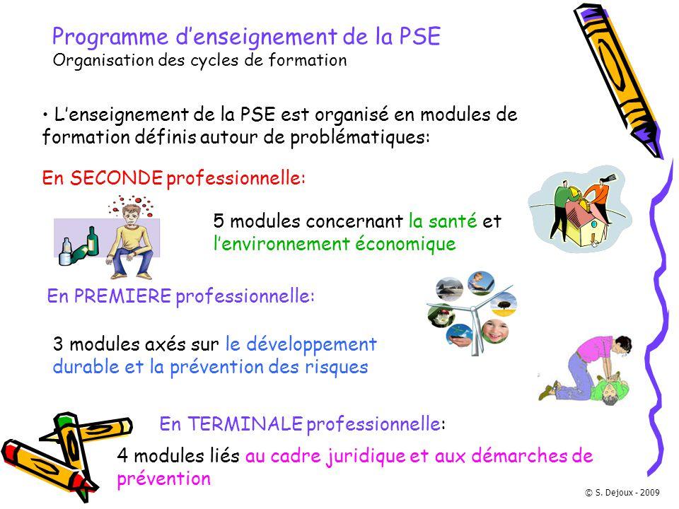 Programme d'enseignement de la PSE Organisation des cycles de formation L'enseignement de la PSE est organisé en modules de formation définis autour d