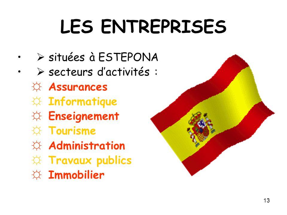 13 LES ENTREPRISES  situées à ESTEPONA  secteurs d'activités : ☼ Assurances ☼ Informatique ☼ Enseignement ☼ Tourisme ☼ Administration ☼ Travaux publ