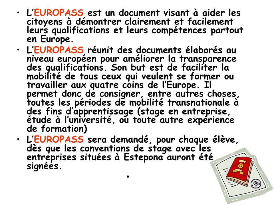 16 L'EUROPASS est un document visant à aider les citoyens à démontrer clairement et facilement leurs qualifications et leurs compétences partout en Eu