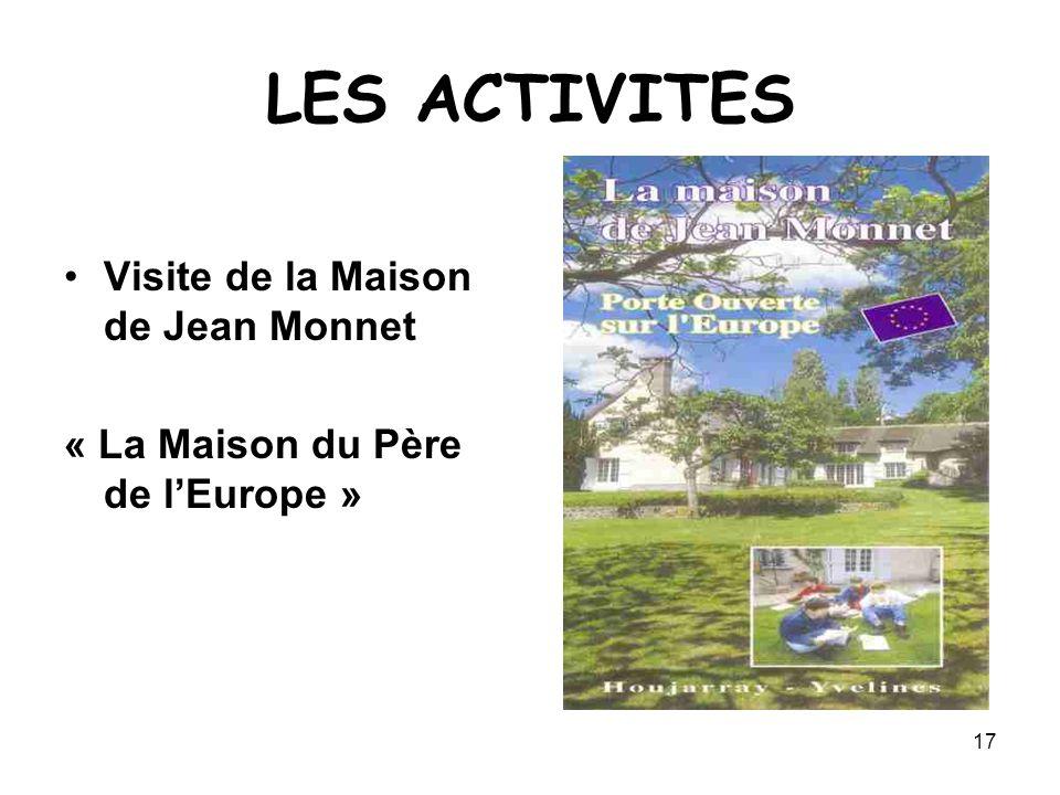 17 LES ACTIVITES Visite de la Maison de Jean Monnet « La Maison du Père de l'Europe »