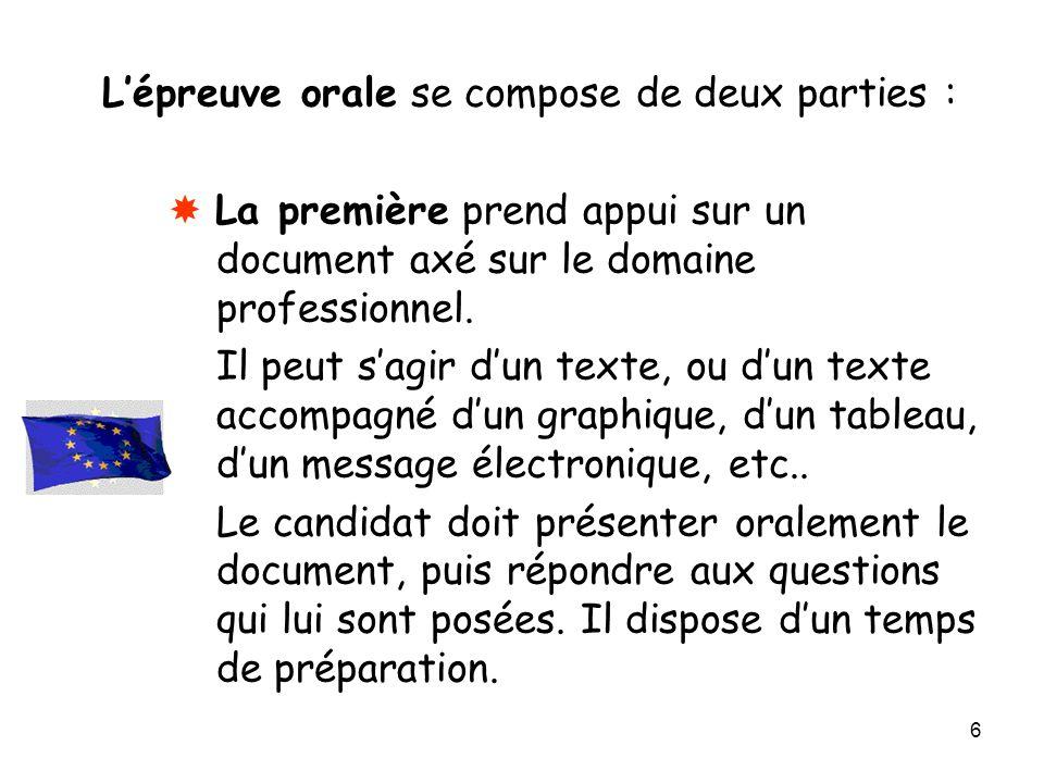 6 L'épreuve orale se compose de deux parties :  La première prend appui sur un document axé sur le domaine professionnel. Il peut s'agir d'un texte,
