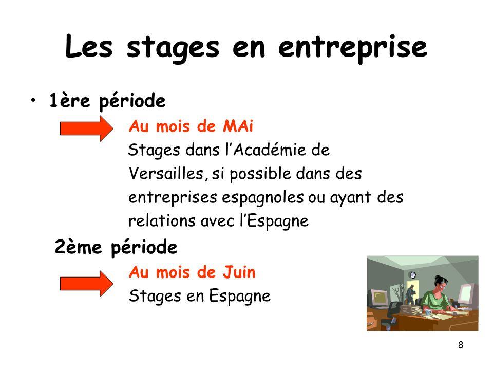8 Les stages en entreprise 1ère période Au mois de MAi Stages dans l'Académie de Versailles, si possible dans des entreprises espagnoles ou ayant des