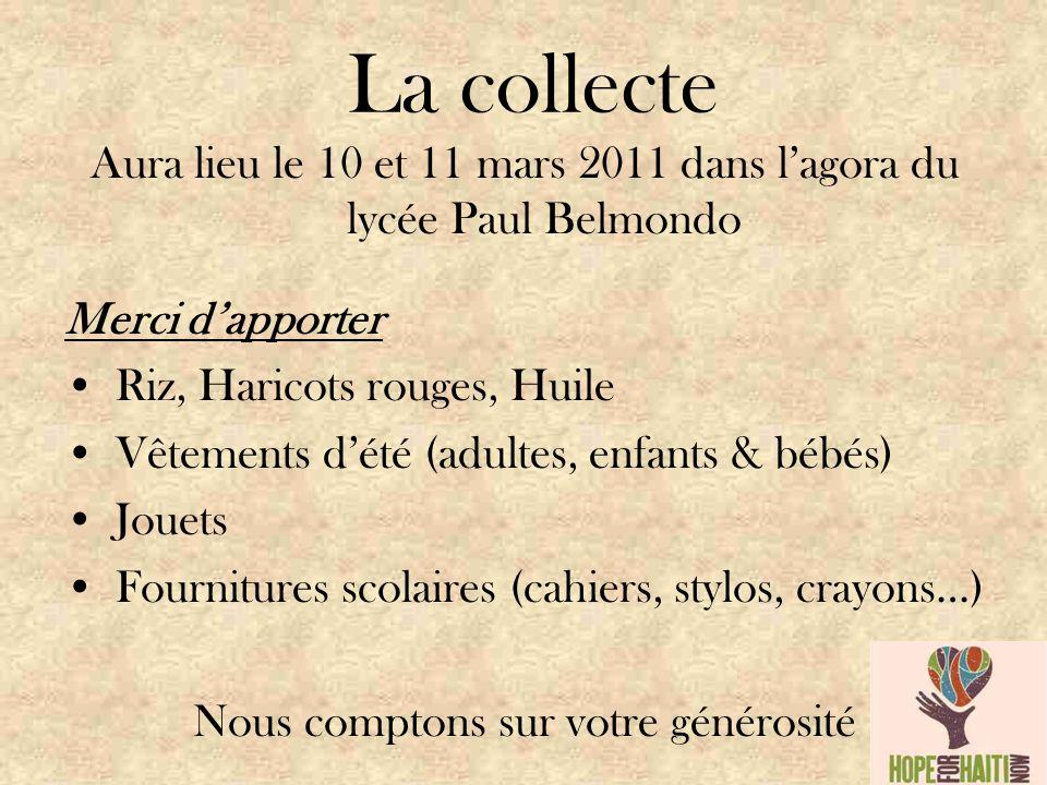 La collecte Aura lieu le 10 et 11 mars 2011 dans l'agora du lycée Paul Belmondo Merci d'apporter Riz, Haricots rouges, Huile Vêtements d'été (adultes, enfants & bébés) Jouets Fournitures scolaires (cahiers, stylos, crayons…) Nous comptons sur votre générosité