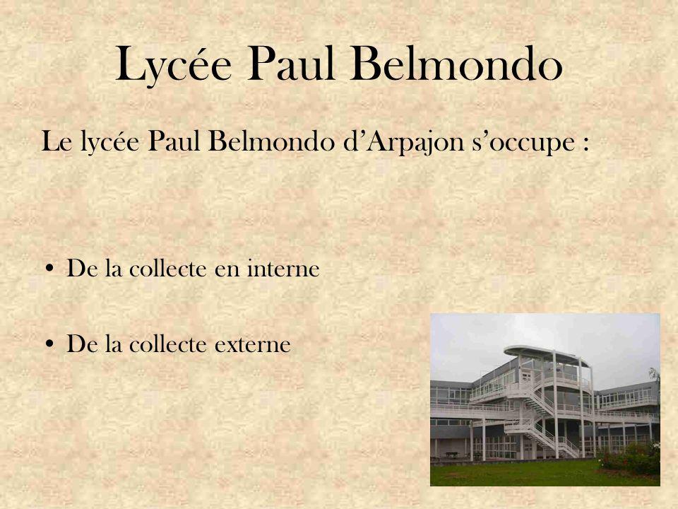 Lycée Paul Belmondo Le lycée Paul Belmondo d'Arpajon s'occupe : De la collecte en interne De la collecte externe
