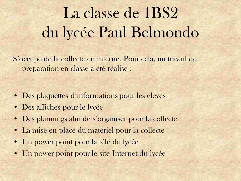 La classe de 1BS2 du lycée Paul Belmondo S'occupe de la collecte en interne.