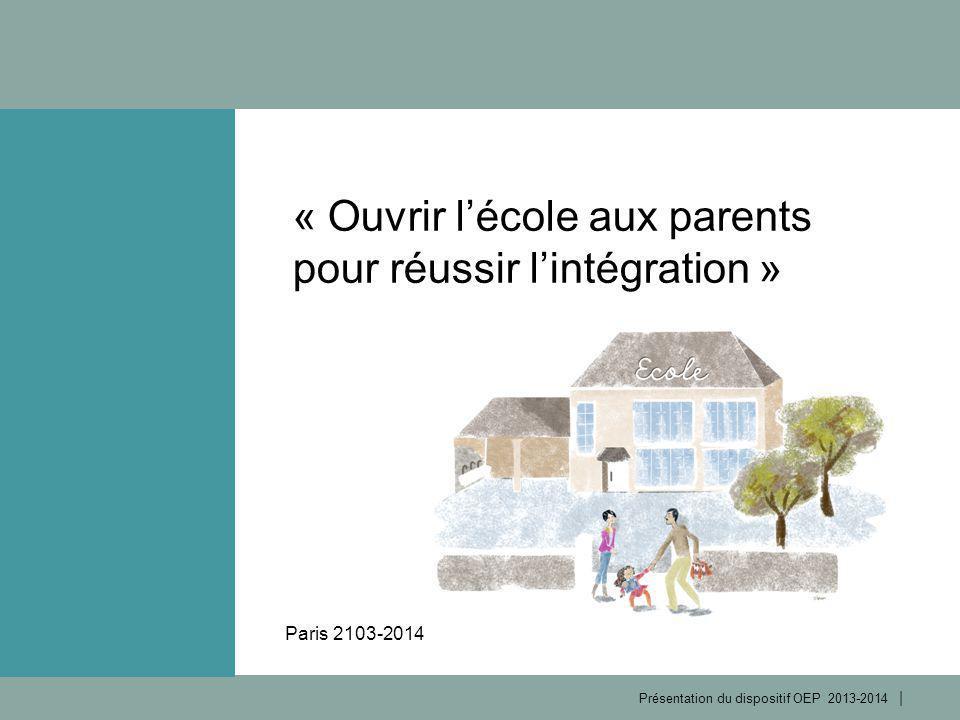 | Présentation du dispositif OEP 2013-2014 1 2 Permettre à des parents d'élèves allophones d'accompagner efficacement la scolarité de leurs enfants Améliorer la maîtrise de la langue française Acquérir une meilleure connaissance de la société française Objectifs du dispositif 2 3