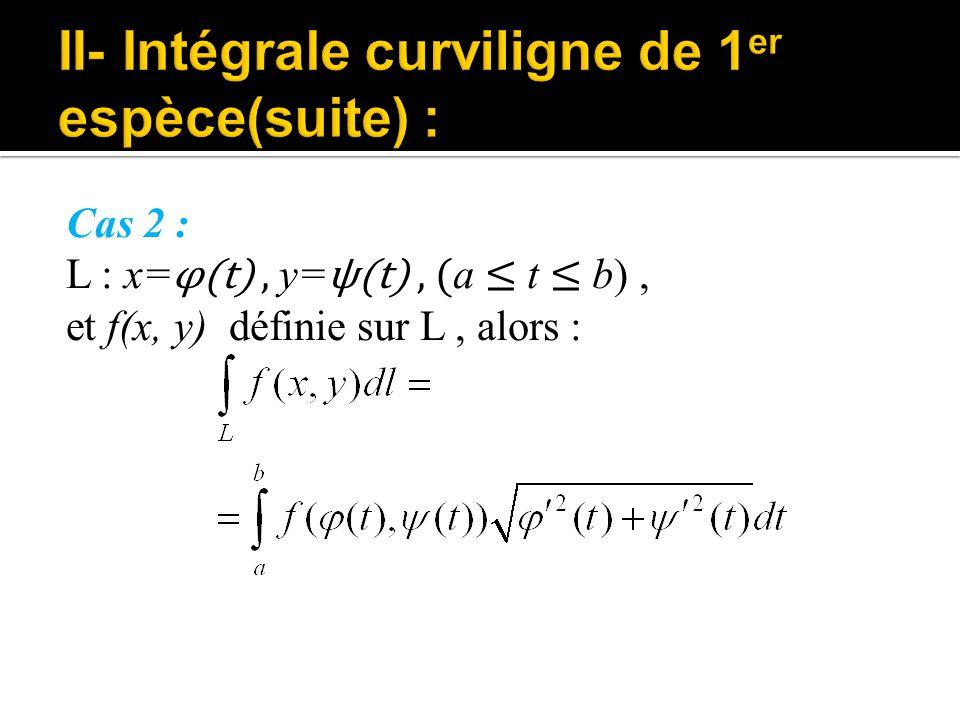 Cas 2 : L : x= φ(t), y= ψ(t), ( a ≤ t ≤ b), et f(x, y) définie sur L, alors :