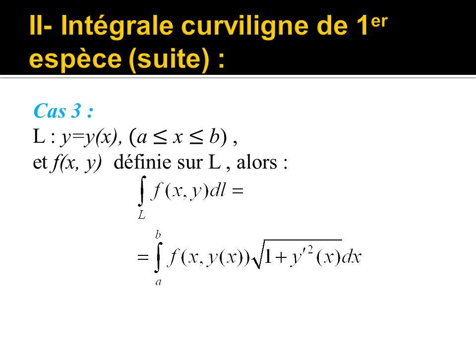 Cas 3 : L : y=y(x), ( a ≤ x ≤ b), et f(x, y) définie sur L, alors :