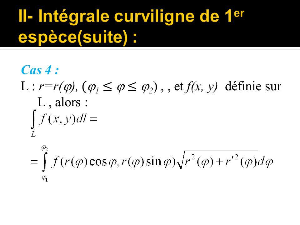 Cas 4 : L : r=r(  ), (  1 ≤  ≤  2 ),, et f(x, y) définie sur L, alors :