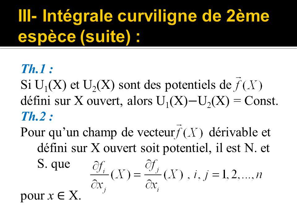 Th.1 : Si U 1 (X) et U 2 (X) sont des potentiels de défini sur X ouvert, alors U 1 (X) − U 2 (X) = Const. Th.2 : Pour qu'un champ de vecteur dérivable