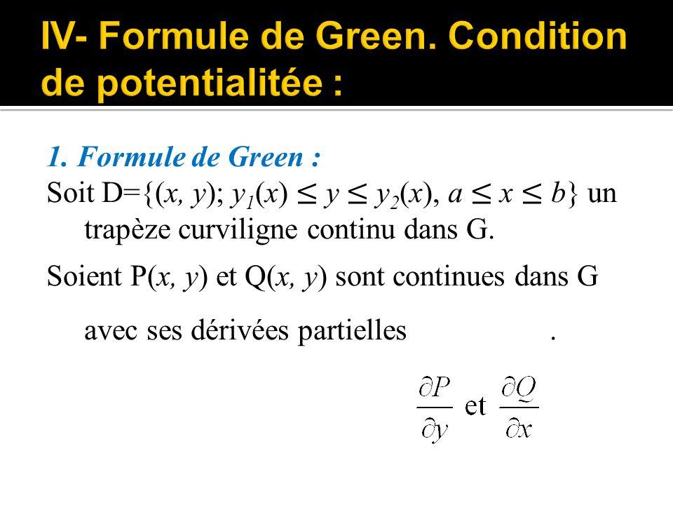 1. Formule de Green : Soit D={(x, y); y 1 (x) ≤ y ≤ y 2 (x), a ≤ x ≤ b} un trapèze curviligne continu dans G. Soient P(x, y) et Q(x, y) sont continues