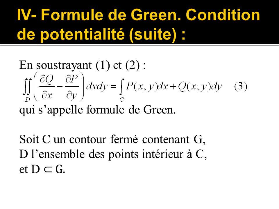 En soustrayant (1) et (2) : qui s'appelle formule de Green. Soit C un contour fermé contenant G, D l'ensemble des points intérieur à C, et D ⊂ G.
