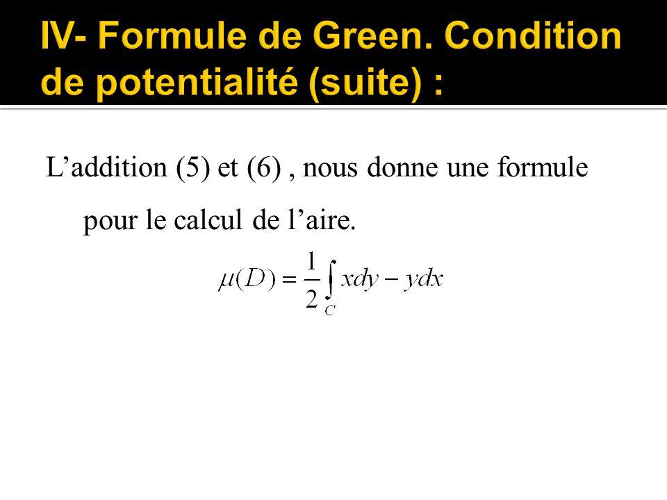 L'addition (5) et (6), nous donne une formule pour le calcul de l'aire.