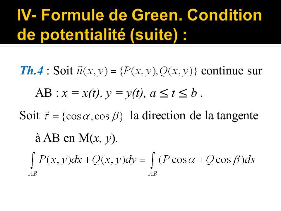 Th.4 : Soit continue sur AB : x = x(t), y = y(t), a ≤ t ≤ b. Soit la direction de la tangente à AB en M(x, y).