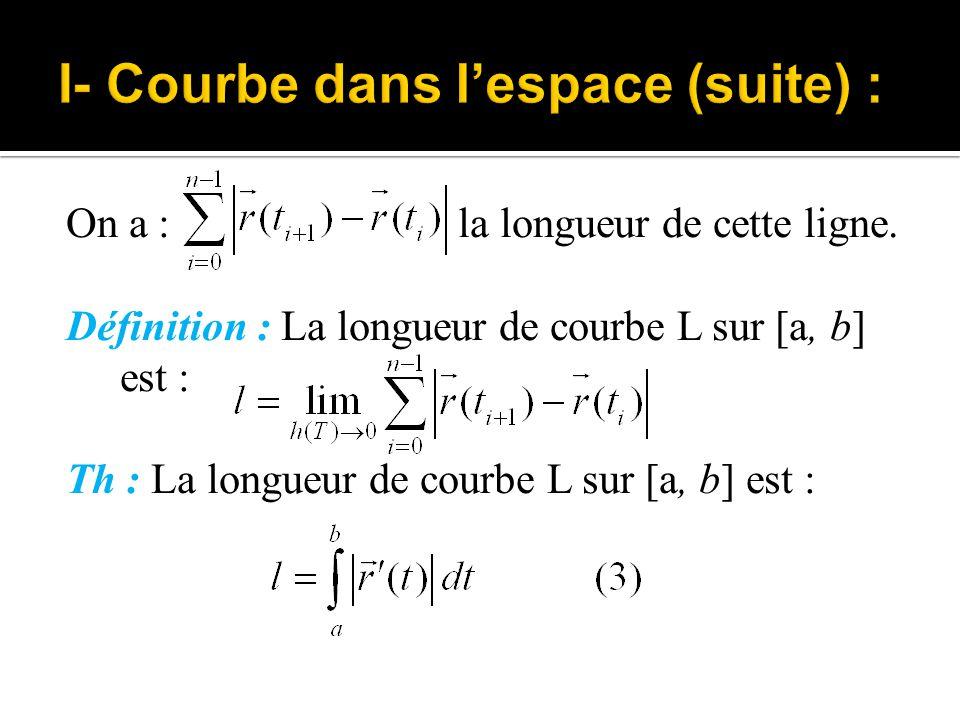 Remarque : 1.Si L : x= φ(t), y= ψ(t), z= χ(t), ( a ≤ t ≤ b), alors : 2.