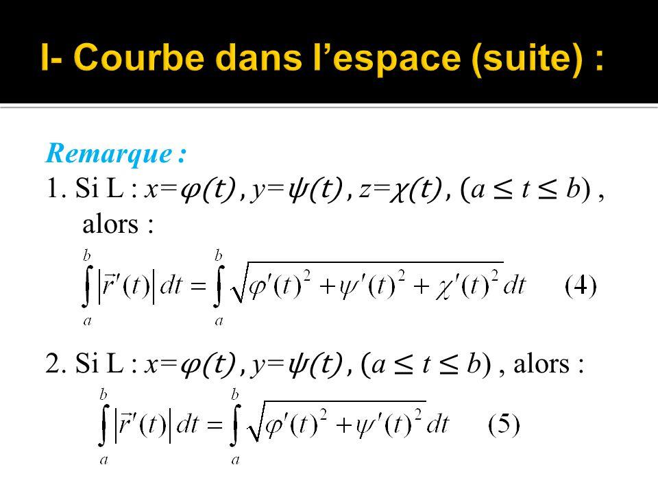 Remarque : 1. Si L : x= φ(t), y= ψ(t), z= χ(t), ( a ≤ t ≤ b), alors : 2. Si L : x= φ(t), y= ψ(t), ( a ≤ t ≤ b), alors :
