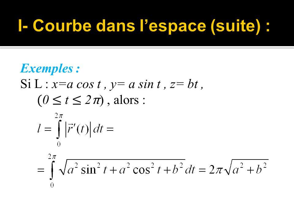 Définition : Soit L : x= φ(t), y= ψ(t), z= χ(t), ( a ≤ t ≤ b), alors : La courbe différentiable L est régulière si ou