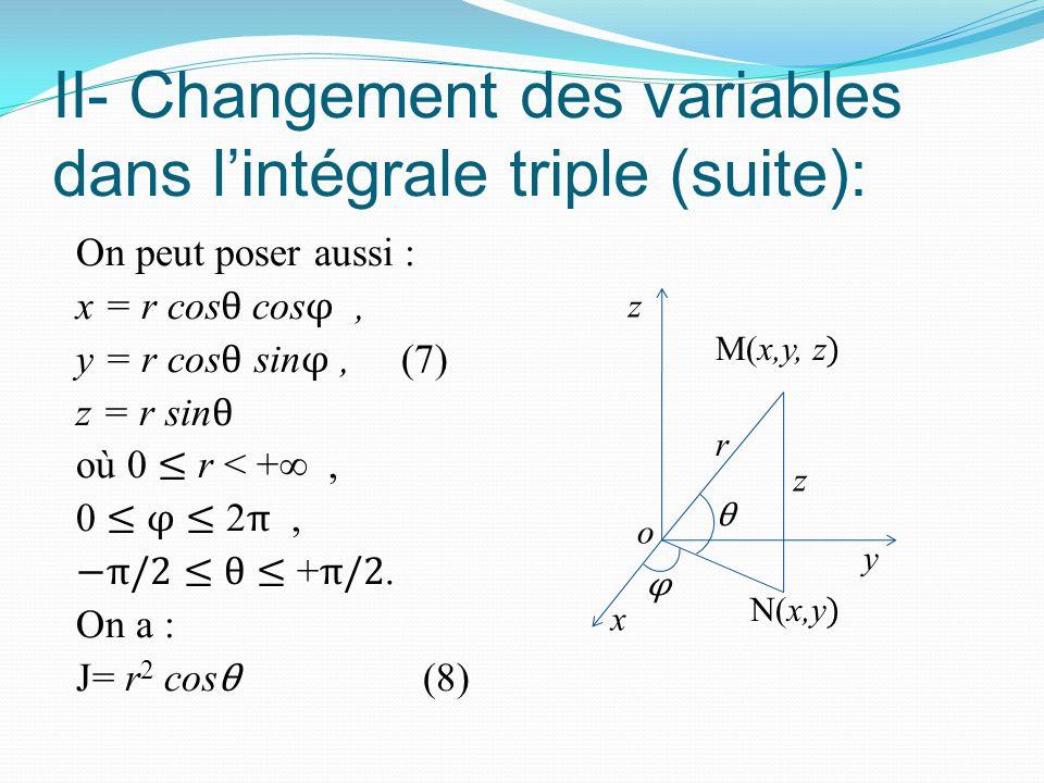 II- Changement des variables dans l'intégrale triple (suite): On peut poser aussi : x = r cos θ cos φ, y = r cos θ sin φ, (7) z = r sin θ où 0 ≤ r < +