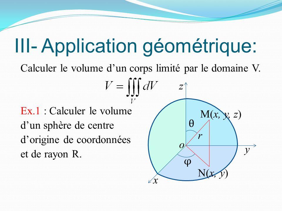 III- Application géométrique: Calculer le volume d'un corps limité par le domaine V. Ex.1 : Calculer le volume d'un sphère de centre d'origine de coor