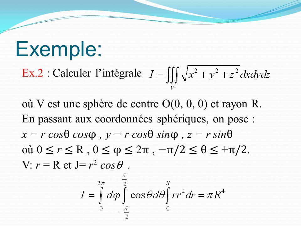 Exemple: Ex.2 : Calculer l'intégrale où V est une sphère de centre O(0, 0, 0) et rayon R. En passant aux coordonnées sphériques, on pose : x = r cos θ