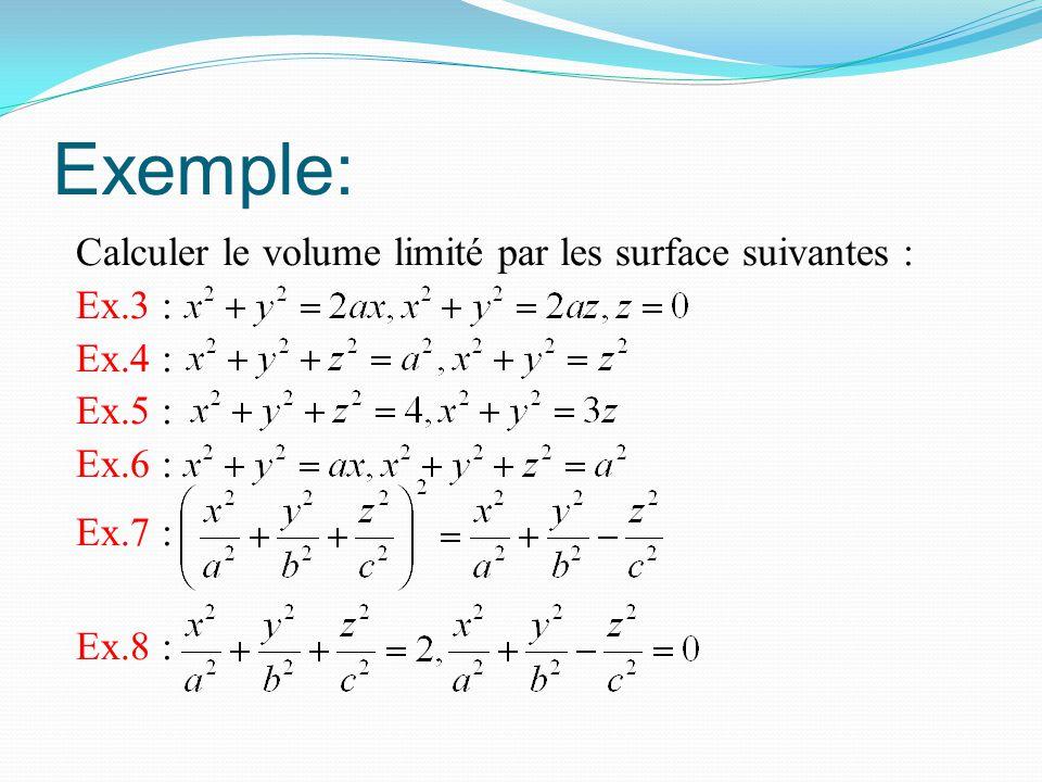 Exemple: Calculer le volume limité par les surface suivantes : Ex.3 : Ex.4 : Ex.5 : Ex.6 : Ex.7 : Ex.8 :