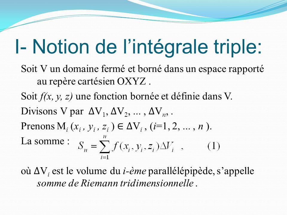 I- Notion de l'intégrale triple: Soit V un domaine fermé et borné dans un espace rapporté au repère cartésien OXYZ. Soit f(x, y, z) une fonction borné