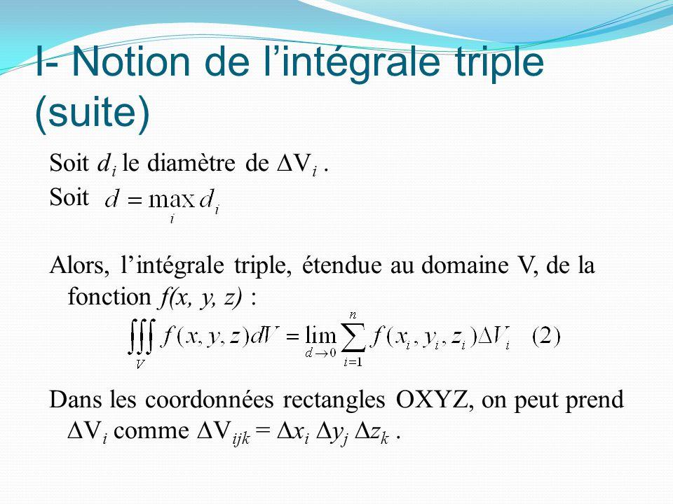 I- Notion de l'intégrale triple (suite) Soit d i le diamètre de ∆V i. Soit Alors, l'intégrale triple, étendue au domaine V, de la fonction f(x, y, z)