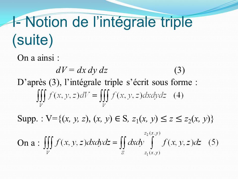 I- Notion de l'intégrale triple (suite) On a ainsi : dV = dx dy dz (3) D'après (3), l'intégrale triple s'écrit sous forme : Supp. : V={(x, y, z), (x,