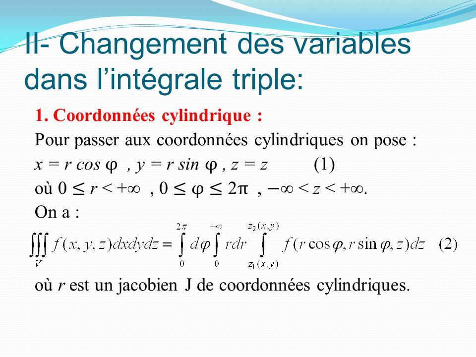 II- Changement des variables dans l'intégrale triple: 1. Coordonnées cylindrique : Pour passer aux coordonnées cylindriques on pose : x = r cos φ, y =