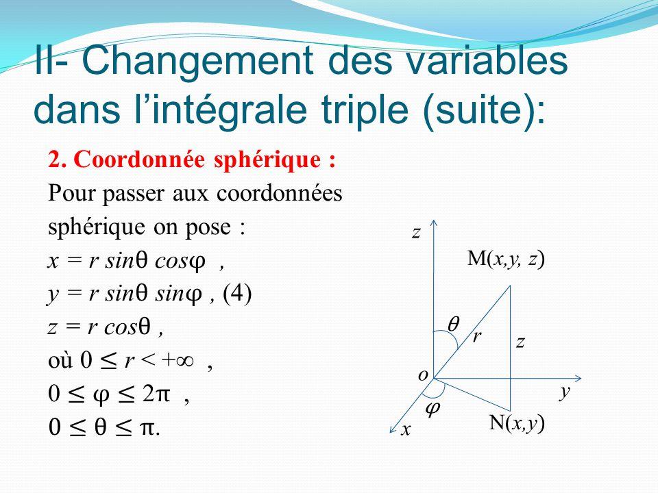 II- Changement des variables dans l'intégrale triple (suite): 2. Coordonnée sphérique : Pour passer aux coordonnées sphérique on pose : x = r sin θ co