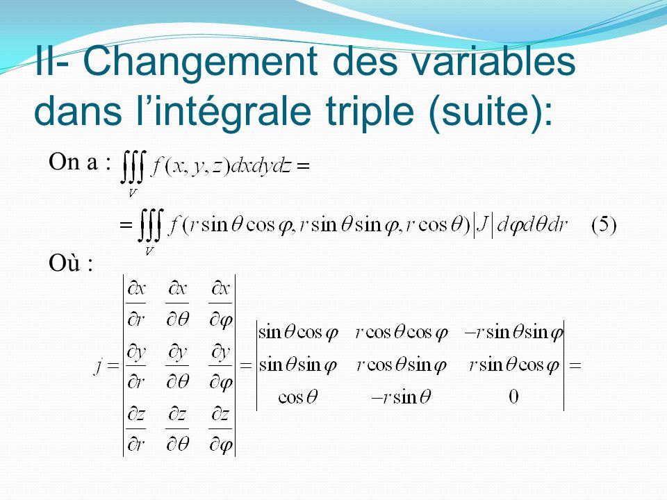 II- Changement des variables dans l'intégrale triple (suite): On a : Où :