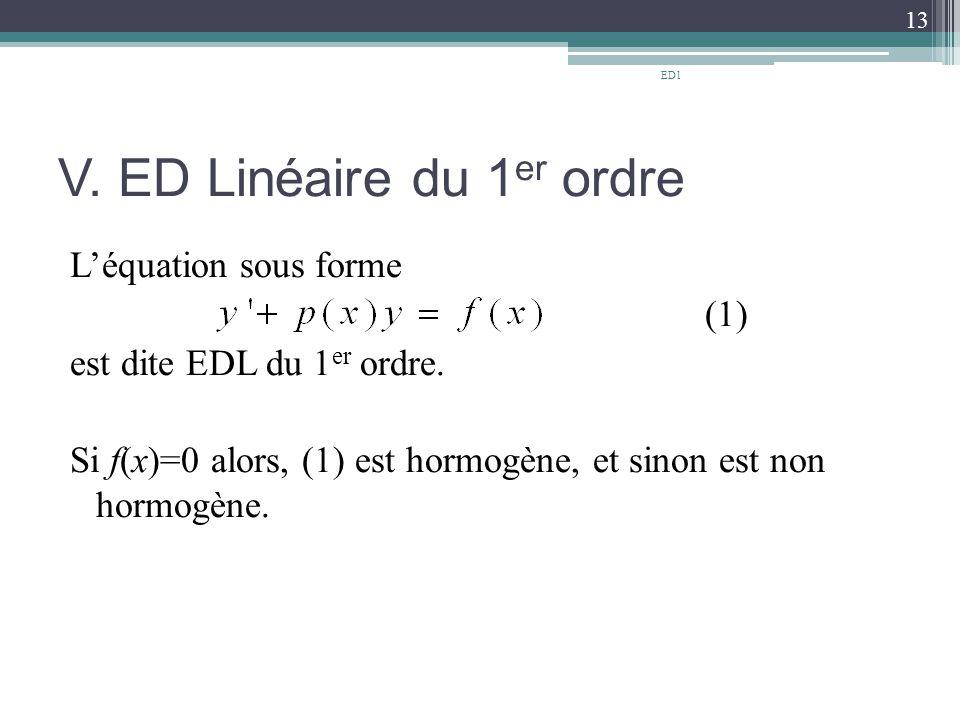 V. ED Linéaire du 1 er ordre L'équation sous forme (1) est dite EDL du 1 er ordre. Si f(x)=0 alors, (1) est hormogène, et sinon est non hormogène. 13