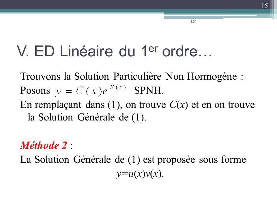 V. ED Linéaire du 1 er ordre… Trouvons la Solution Particulière Non Hormogène : Posons SPNH. En remplaçant dans (1), on trouve C(x) et en on trouve la