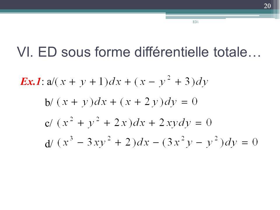 VI. ED sous forme différentielle totale… Ex.1: a/ b/ c/ d/ 20 ED1