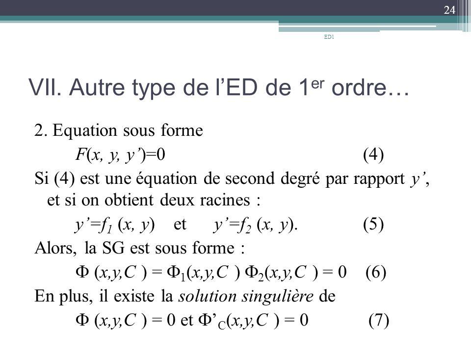 VII. Autre type de l'ED de 1 er ordre… 2. Equation sous forme F(x, y, y')=0 (4) Si (4) est une équation de second degré par rapport y', et si on obtie