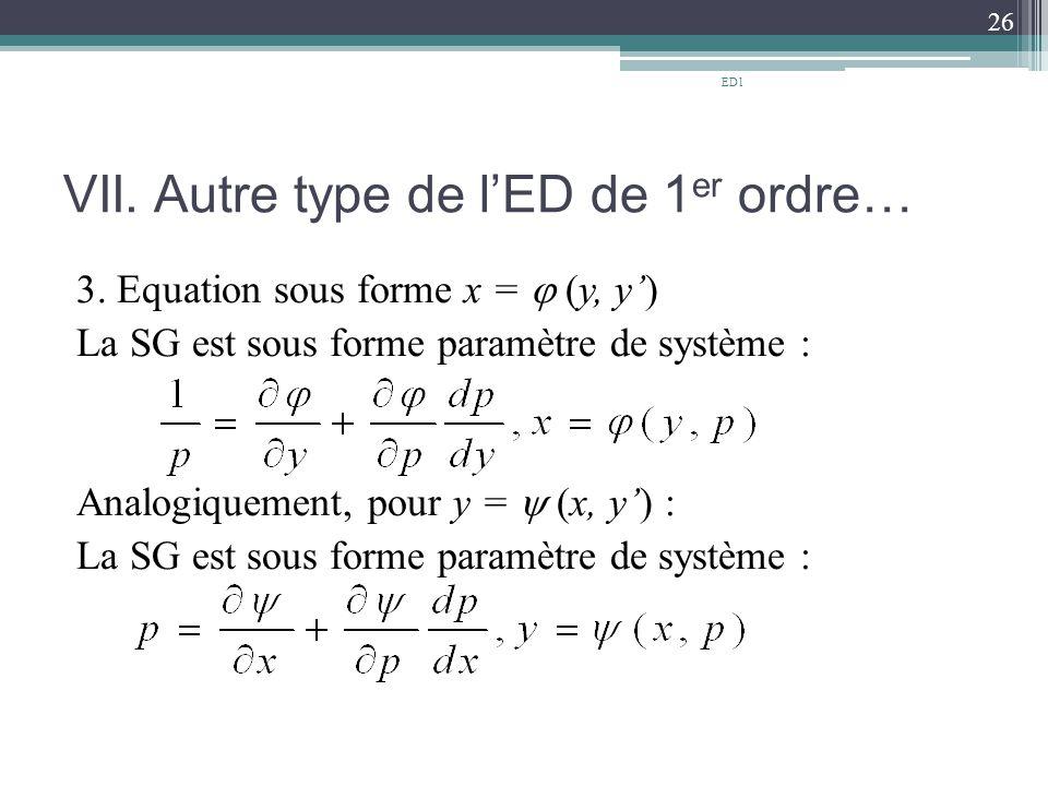 VII. Autre type de l'ED de 1 er ordre… 3. Equation sous forme x =  (y, y') La SG est sous forme paramètre de système : Analogiquement, pour y =  (x,